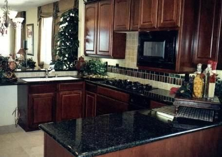 Cherry Kitchen Cabinets Black Granite dark granite, dark cabinets 043 granite verde butterfly kitchen