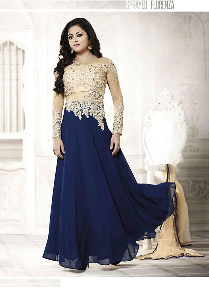 Drashti Dhami Churidar Style Salwar Kameez in Beige Color - CBYI07250194B | Indian Trendz