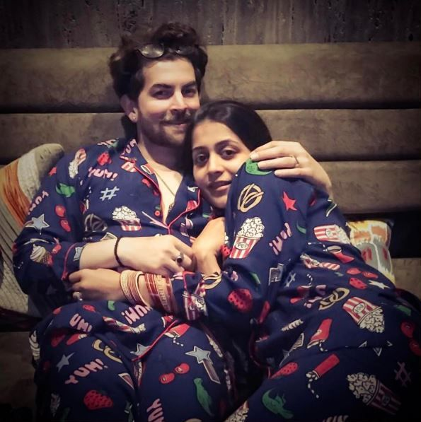 Neil Nitin Mukesh & wife Rukmini twinning in this cute good night click