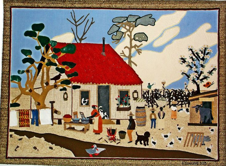 "South of Savannah. The tapestry depicts a successful Black sharecropper and his extended family in 1910 on his farm located, ""South of Savannah,"" GA, showing a farmhouse sitting on pilings, and a low barn. It is washday for the southern ladies. The sharecropper's extended family works the 40 acre farm. Three women are picking cotton in the field on the horizon. A small boy is napping on the bulging sack of cotton he has hauled from the field. Two women, one with her young son, are brings..."