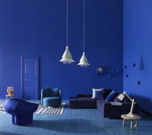 Blue interior by Swedish interior stylist Sara Sjögren via Nordic Design
