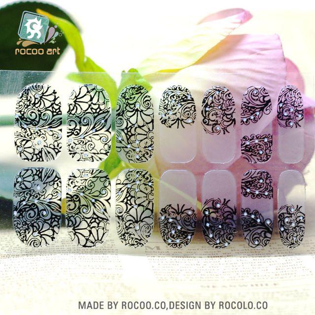 Y5402 2016 Прозрачный Половина Черное Кружево Полосатый Дизайн Клей Nail Art Наклейки Красочные Rinestones Декор Ногтей Обертывания Наклейки
