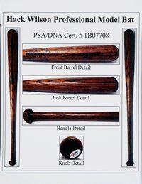 Autographs:Baseballs, 1926-28 Hack Wilson Game Used Bat, PSA/DNA GU 9.. ...