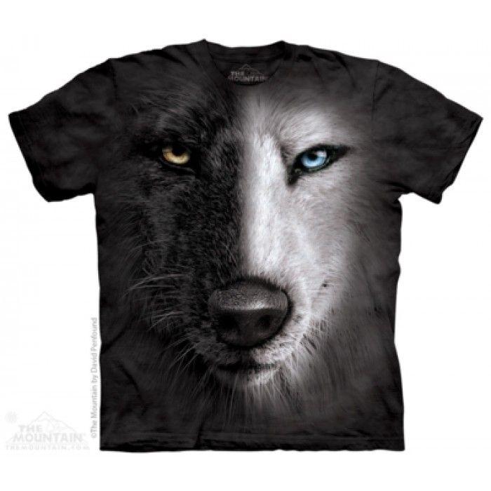 Tricouri The Mountain – Tricou Black&White Wolf Face