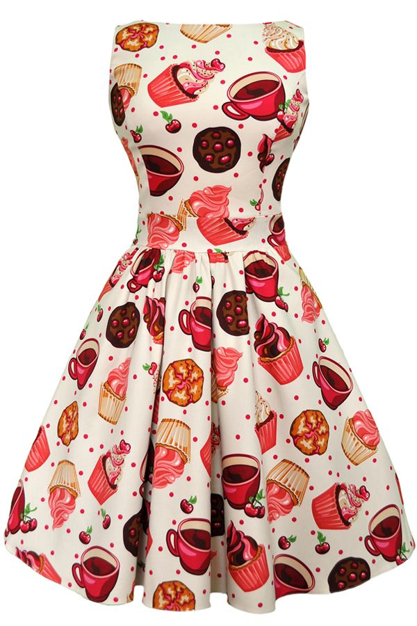 Cream Tea Cups & Cupcakes Tea Dress : Lady Vintage  According to measurements I'm a size 8...might need the receipt on that one cause I'm not sure....