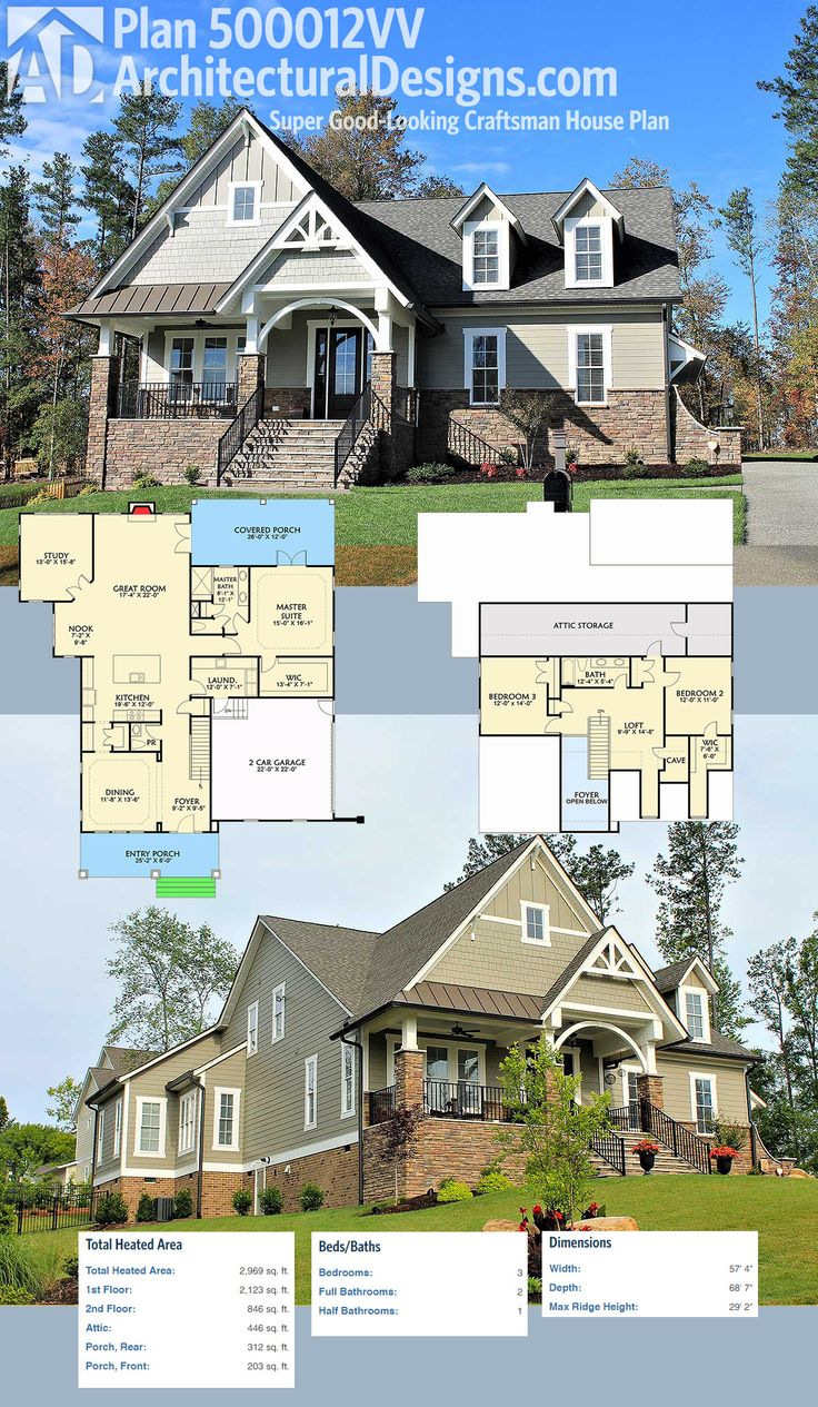 4992 best home ideas images on pinterest house floor plans architectural designs super good looking craftsman house plan 500012vv gives you 3 beds 2 5