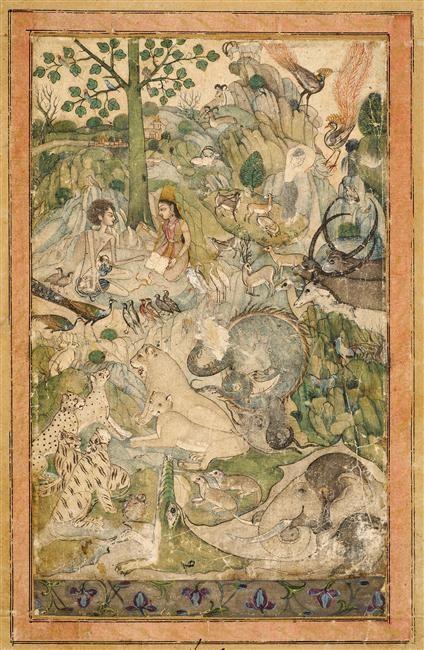 Layla et Majnun  (C) RMN-Grand Palais (musée Guimet, Paris) / Thierry Ollivier  époque moghole (17e siècle)  peinture sur papier  Dekkan, Inde