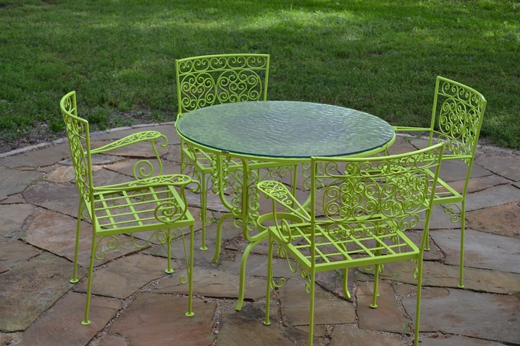 205 best patio backyard space images on pinterest outdoor spaces outdoor furniture and Spray painting metal patio furniture