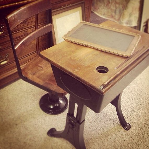 Antique children's desk and chair by ShabbyChicBoutique50 on Etsy, $165.00