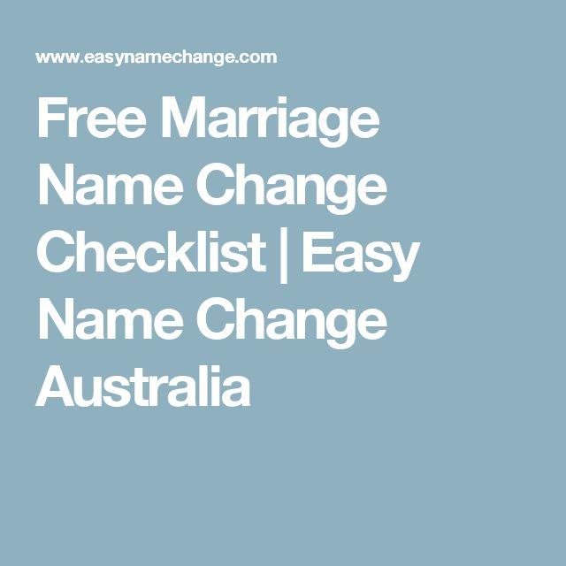 Free Marriage Name Change Checklist   Easy Name Change Australia