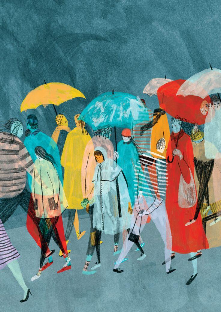 umbrellas raining I like how the people are transparent Mounifeddag.