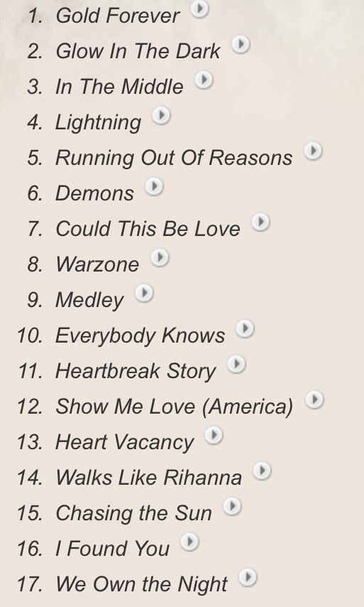 The Wanted Word Of Mouth Tour Setlist