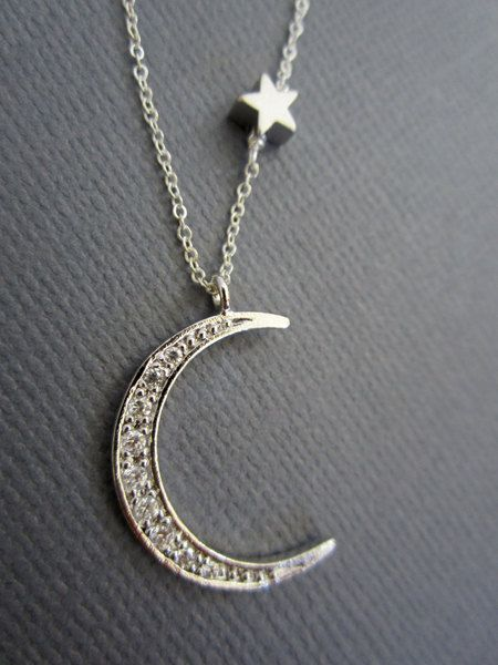 Moon and Star necklace Star and Moon necklace Star by Muse411
