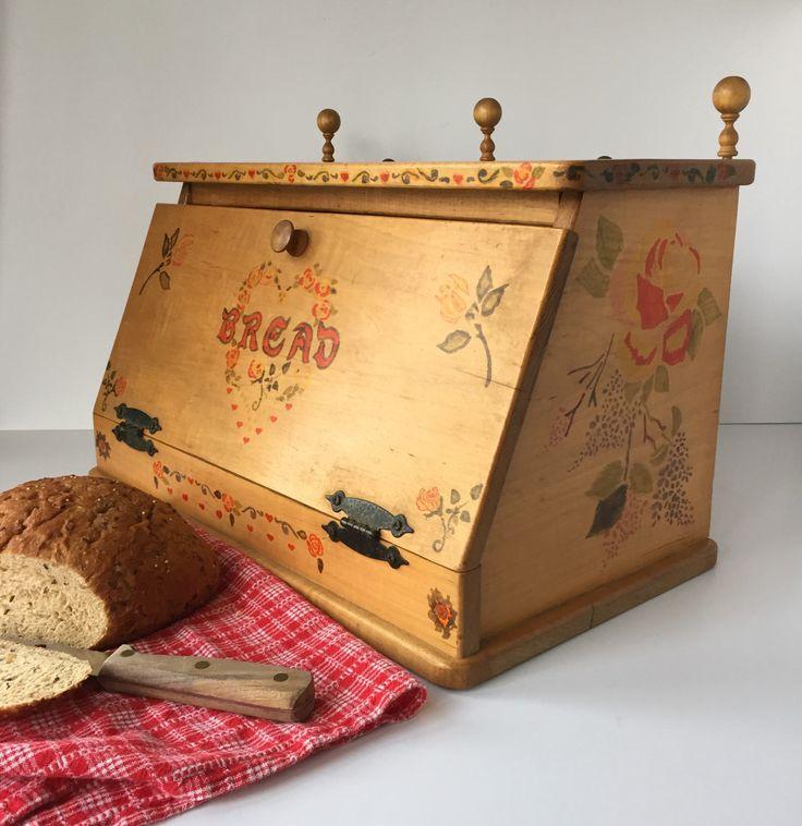 Wooden Bread Box, Vintage Stenciled Bread Box, Folk Art Bread Box, Large Handmade Bread Box, Pennsylvania Dutch Rustic Farmhouse Bread Box by AlegriaCollection on Etsy