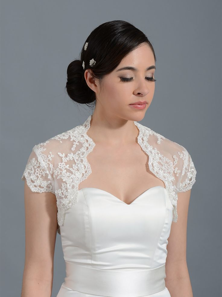 Ivory cap sleeve bridal alencon lace bolero jacket Lace_108