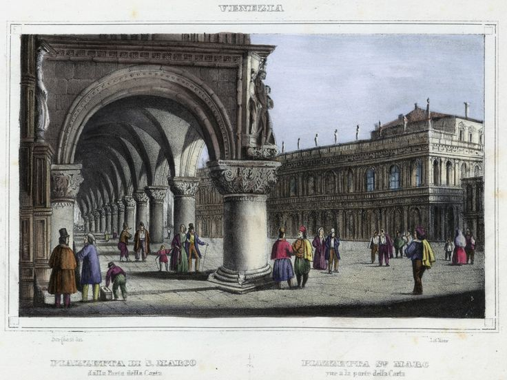 Venezia, Piazzetta di S. Marco (National Library of Poland - 1847, lithography)