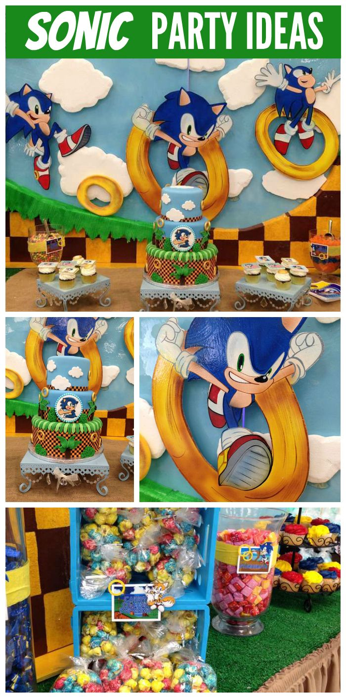 A Sonic the Hedgehog boy birthday party with fantastic decorations and cake!  See more party planning decorations at CatchMyParty.com!