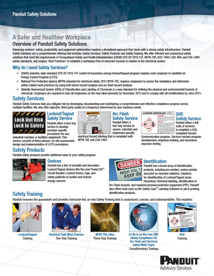 """Panduit Overview of Panduit Safety Solutions """"CPFL61--WW-ENG"""" 01.2014 http://www.panduit.com/ccurl/930/781/ghs-safety-solutions,0.pdf"""