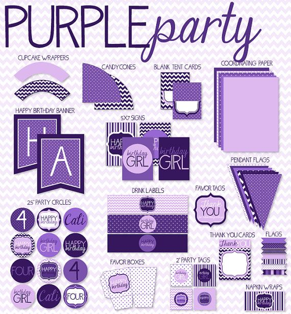 Purple Party PRINTABLE Birthday by Love The Day by lovetheday
