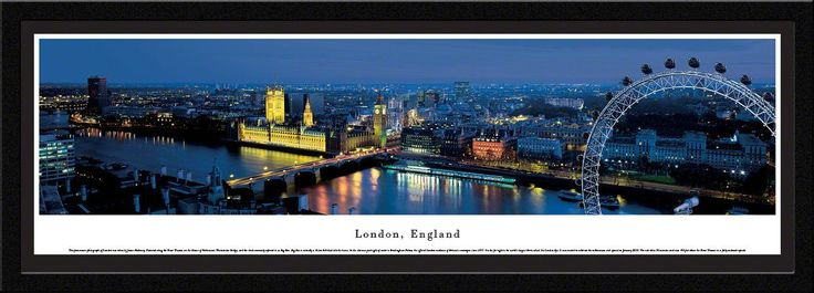 London Skyline Panoramic Picture Framed, England (Ferris Wheel)