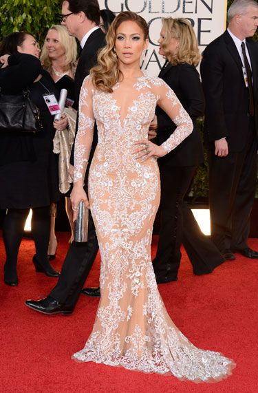 Jennifer Lopez shows off her body in a semi-sheer, intricate white gown by Zuhair Murad. Golden Globes Red Carpet 2013 - Pictures from 2013 Golden Globes Red Carpet - Harper's BAZAAR