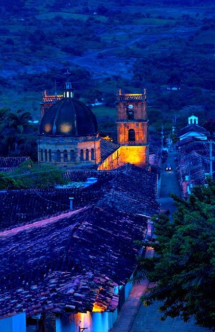 Catedral de la Inmaculada Concepción y San Lorenzo Mártir Barichara Colombia Colombia, Barichara, 18th Century Cathedral de la Concepcion, Spanish Colonial, Town Declared A National Monument, Twlight, South America
