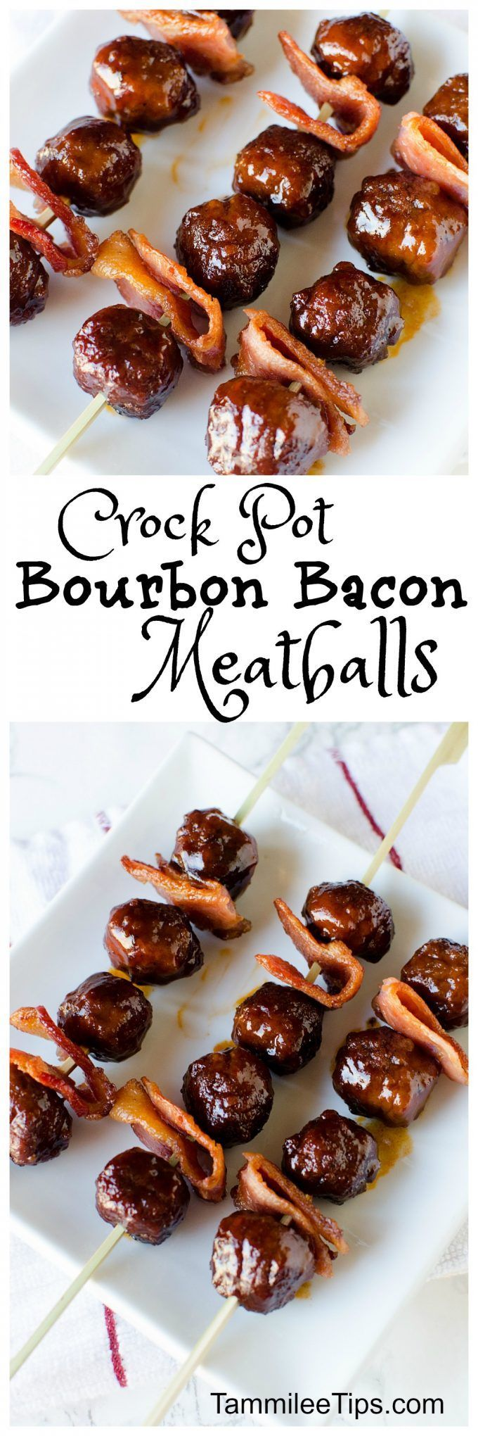 Super easy crock pot bourbon bacon meatballs are the perfect Super Bowl appetizer recipe! This slow cooker appetizer would be perfect for New Years Eve also! The crockpot does all the work and you get to serve an amazing appetizer!  via @tammileetips
