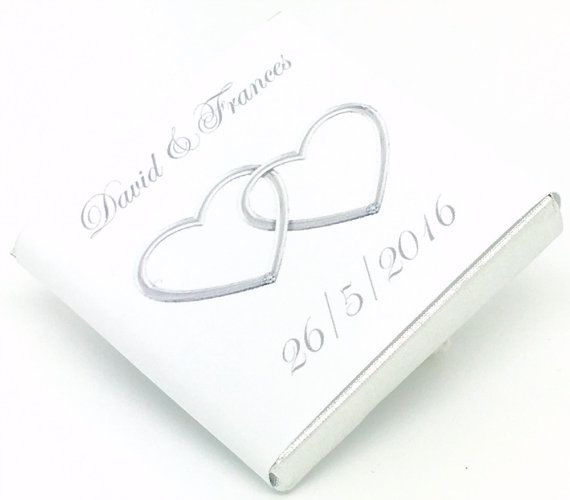 Personalised Chocolate Wedding Favours Silver Entwined