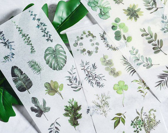 Leaf Plants Paper Stickers for Journal Planner Diary Scrapbook Decals Decor
