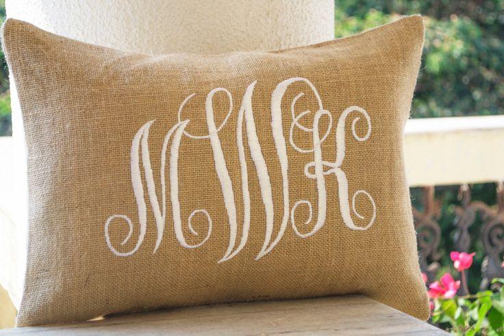 Burlap Monogram Pillows Custom Lumbar Personalized Cushion Wedding Pillow