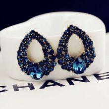 2015 nuovo arrivo celebrità vento cala blue sapphire strass boutique di moda orecchini per la donna(China (Mainland))
