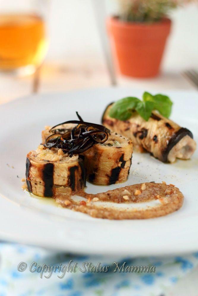 involtini di melanzane ricetta veloci cucinare facile con pesce spada pesto di nocciole bacco  foto tutorial Statusmamma