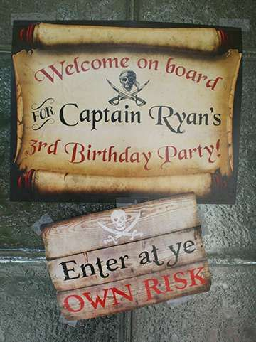 Pirates Birthday Party sign! See more party planning ideas at CatchMyParty.com!