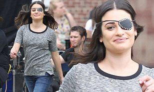 Lea Michele dons eyepatch to film Scream Queens finale with Jamie Lee Curtis | Daily Mail Online