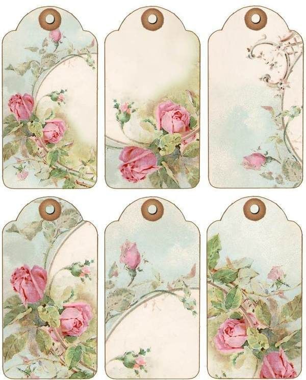 12 Hang Gift Tags Cottage Chic Roses Images 844 A | eBay
