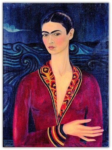 Frida Kahlo, 1926, Zelfportret in fluwelen jurk, privé collectie Mexico City. De Mexicaanse kunstenares schilderde veel in surrealistische stijl maar werd ook beinvloed door de Italiaanse Renaissance. Eerste van 55 zelfportretten.
