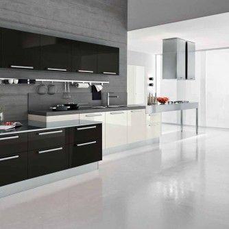 Interior Furnishing Black Minimalist Modern Kitchen Design Rectangular Shaped Chimney  Metallic Breakfast Bar White Floor Tile White And Gray Cabinets Countertops Kitchen Ideas That Inspire You with Multi-Functional Furniture