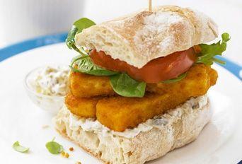 Posh fish finger sandwich with sweet potato chips