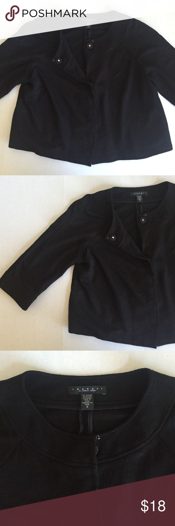 Laundry Shelli Segal Swing Jacket Classic black knit swing coat from Laundry. Super versatile! Cute with work pants or with jeans. 3/4 length sleeves and large snap closure in front. No flaws or snags. Fits true to size. Laundry by Shelli Segal Jackets & Coats