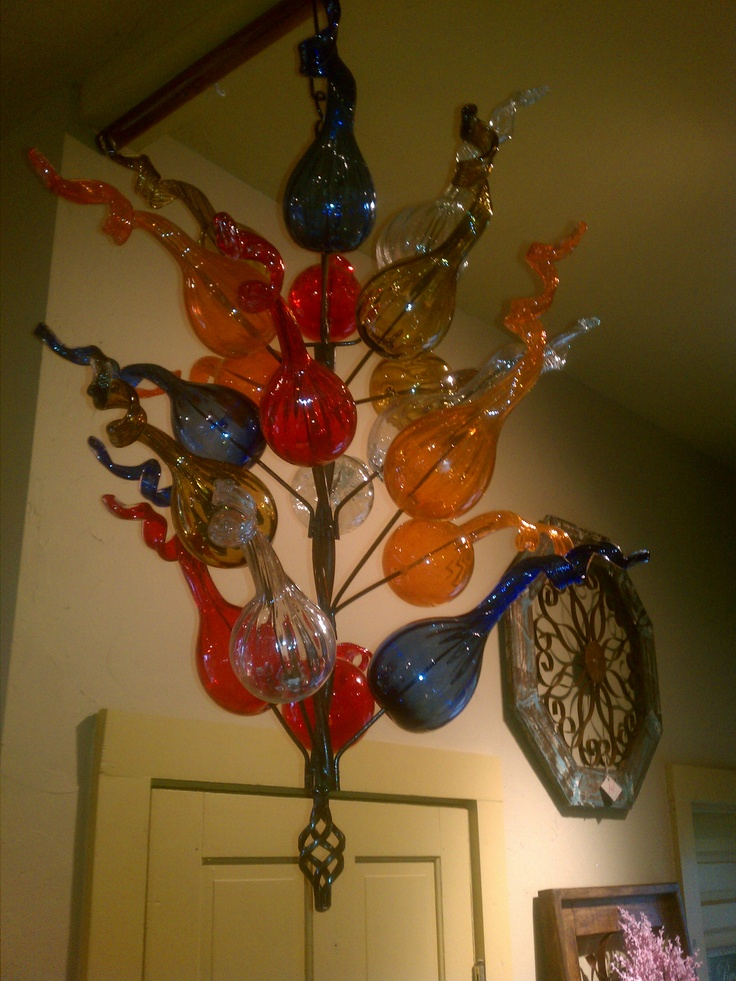 Hanging Bottle Tree With Hand Blown Glass Bottles Awesome