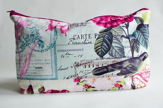 Large Zippered Bag Pouch for Makeup Travel by MikaLaneShop on Etsy http://www.etsy.com/shop/MikaLaneShop?ref=l2-shopheader-name