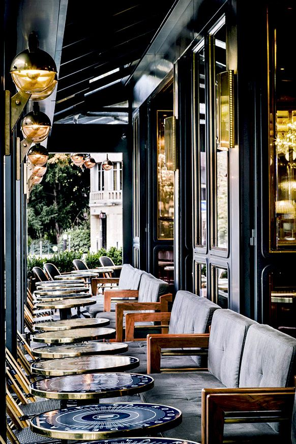 Brasserie La Rotonde de la Muette in Paris, designed by Roman & Williams  Cafe seating and wall partition references