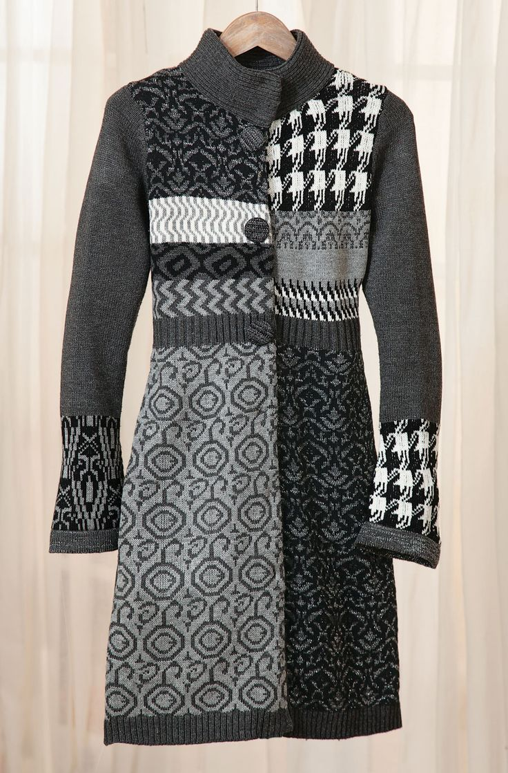"""Stockholm Sweater Coat The Scandinavian sweater, updated and chic. High ribbed neck, ribbed waist and hem, slightly belled sleeves, fashion patterns. Covered buttons over hidden snap closures. Hangs 36"""". Soft acrylic knit with a bit of Lurex for sparkle. Sizes S(2–4), M(6–8), L(10–12), XL(14–16). Hand wash. Imported. Semifitted."""