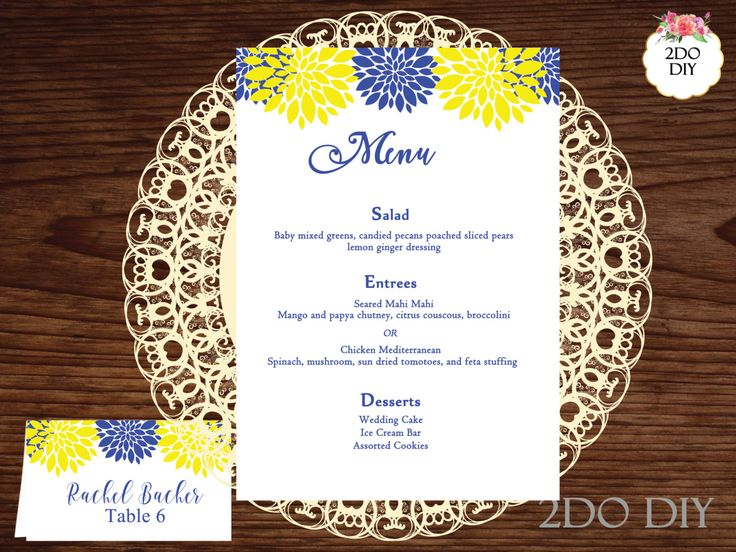 Yellow and Blue Printable Menu Template /Nautical /Blue / DIY Menu Template / Print at Home Menu Cards /Instant Download / MS Word by 2DoDIY on Etsy https://www.etsy.com/listing/477322406/yellow-and-blue-printable-menu-template