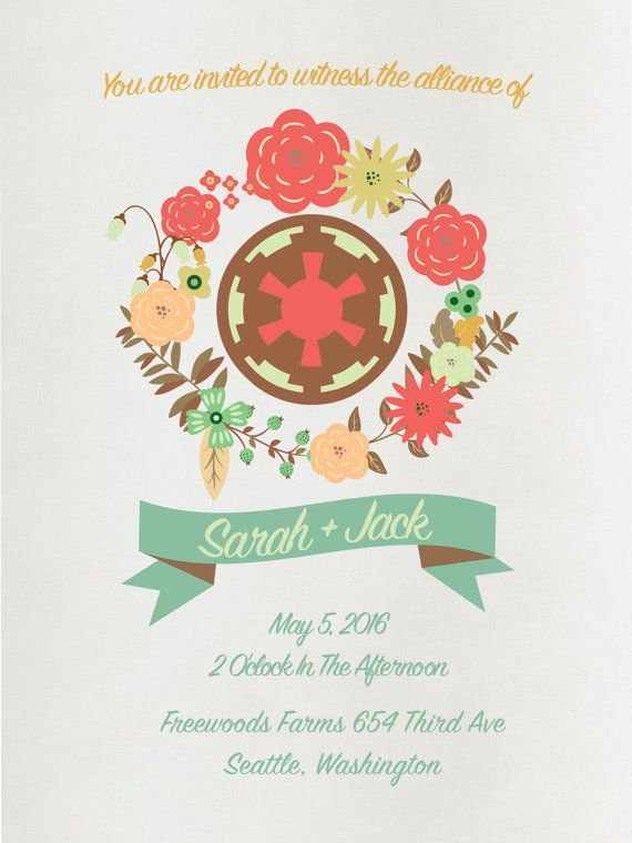 Star Wars Wedding Invitation Package Custom Printable 5x7