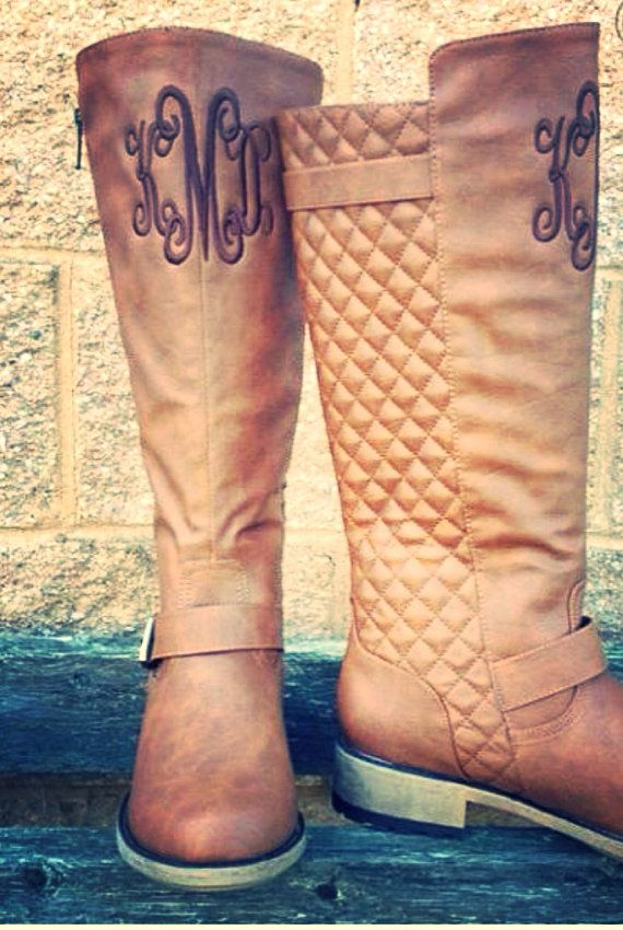 Monogram Personalized Riding Boots Tall by thepurplepetunia, $62.00