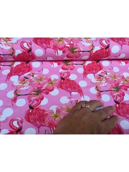 Bomuldsjersey - pink med hvide bomber og flamingoer