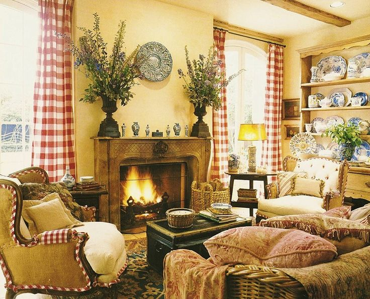 Yellow with red check custom design interior for Country style family room ideas