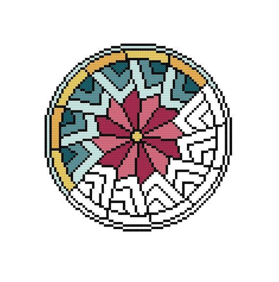 Geometrische Kreuzstich Muster Mandala Pdf Sofortigen Download Moderne Kreuzstich Wohnkultur Diy Einfache Kreuzstichvorla Kanavice Ornekleri Kanavice Mandala