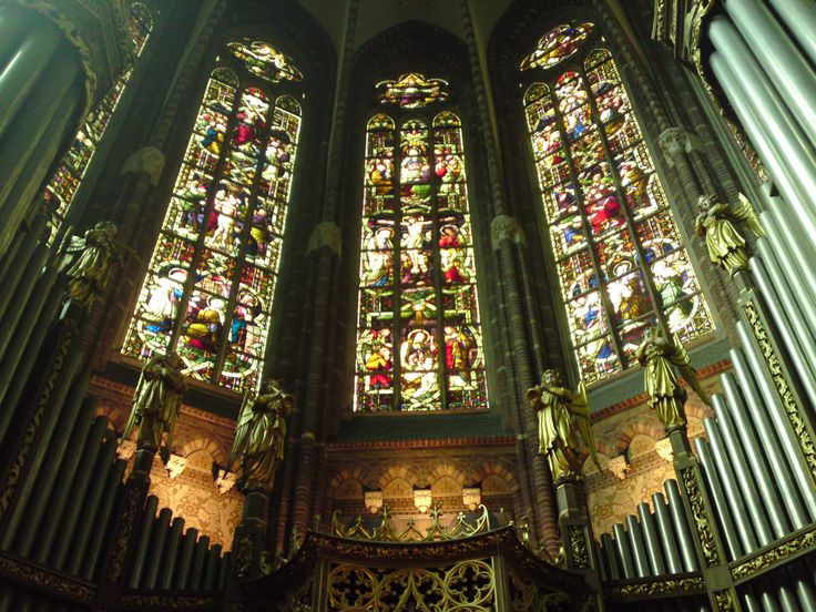 Church in Zwolle (Grote Kerk) with beautiful stained glass Windows.